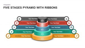 5 Stages Ribbon Pyramid Diagram Template for PowerPoint and Keynote