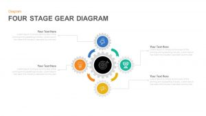 Four Stage Gear Diagram PowerPoint Template and Keynote Slide