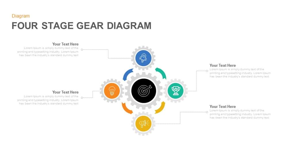 4 Stage Gear Diagram PowerPoint Template