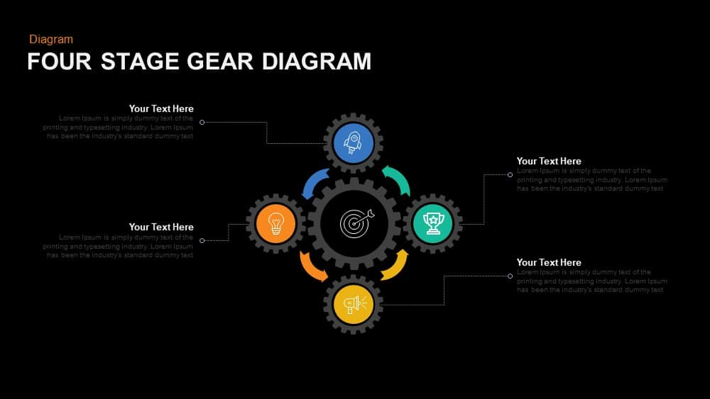 Four Stage Gear Diagrams Powerpoint template