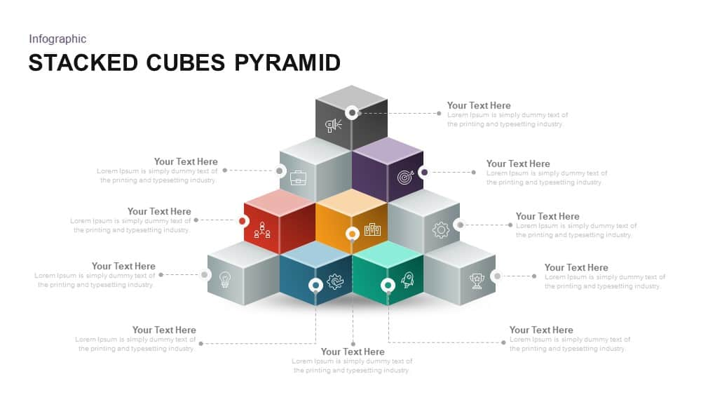 stacked cubes pyramid PowerPoint template and keynote