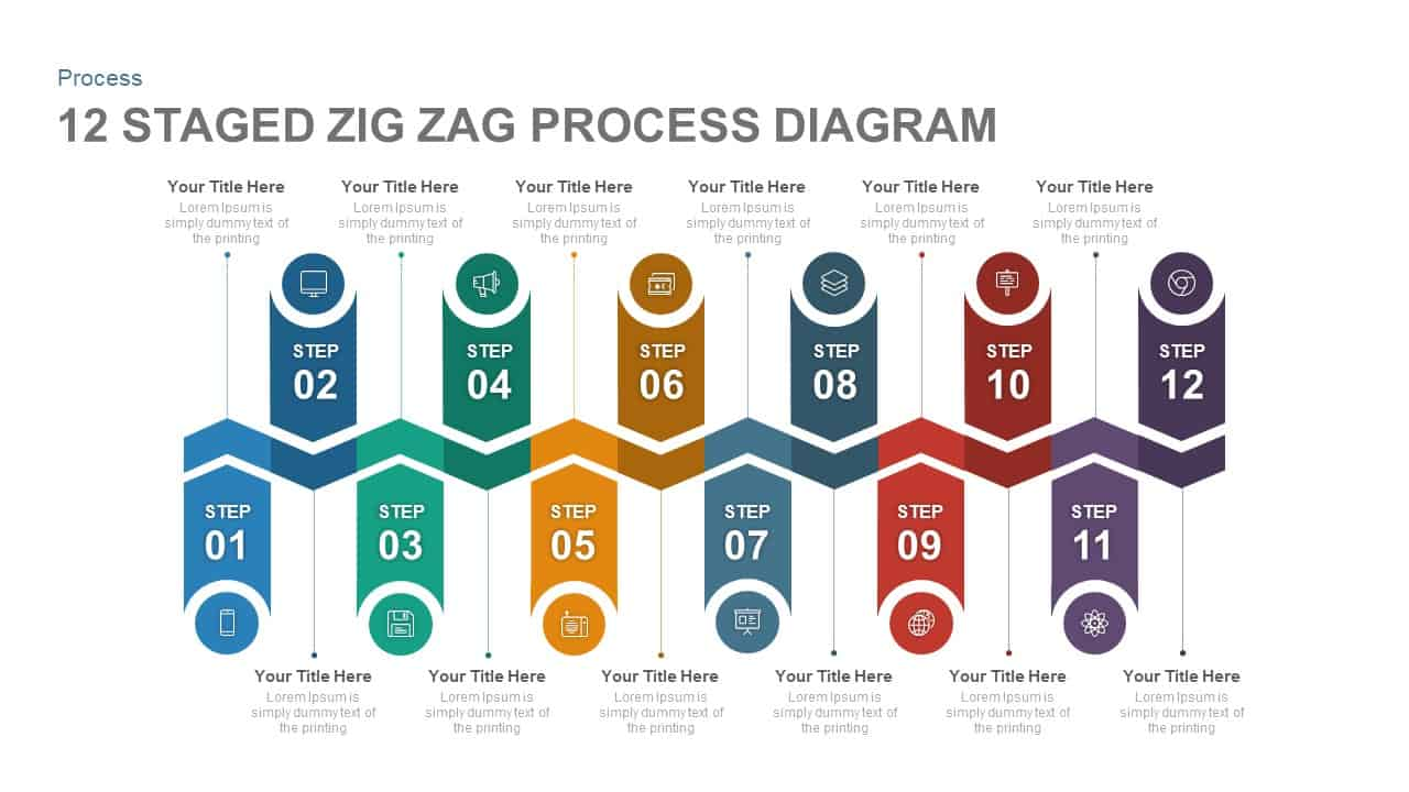 12 Staged Zig Zag Process Diagram PowerPoint Template