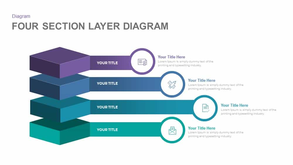 4 Section Layer Diagram Powerpoint Template And Keynote
