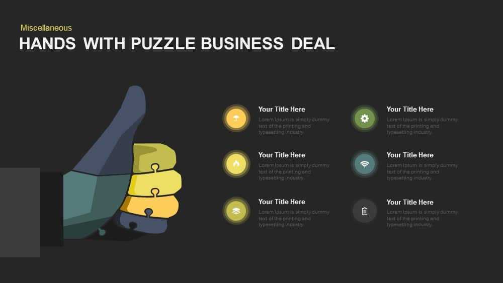 Hands With Puzzle Business Deal PowerPoint Template