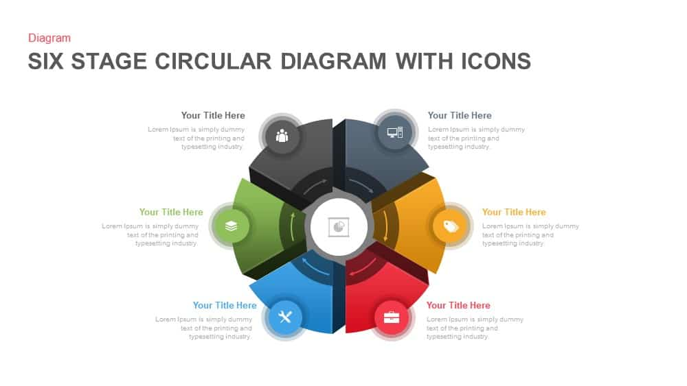 6 Stage Circular Diagram with Icons PowerPoint and Keynote