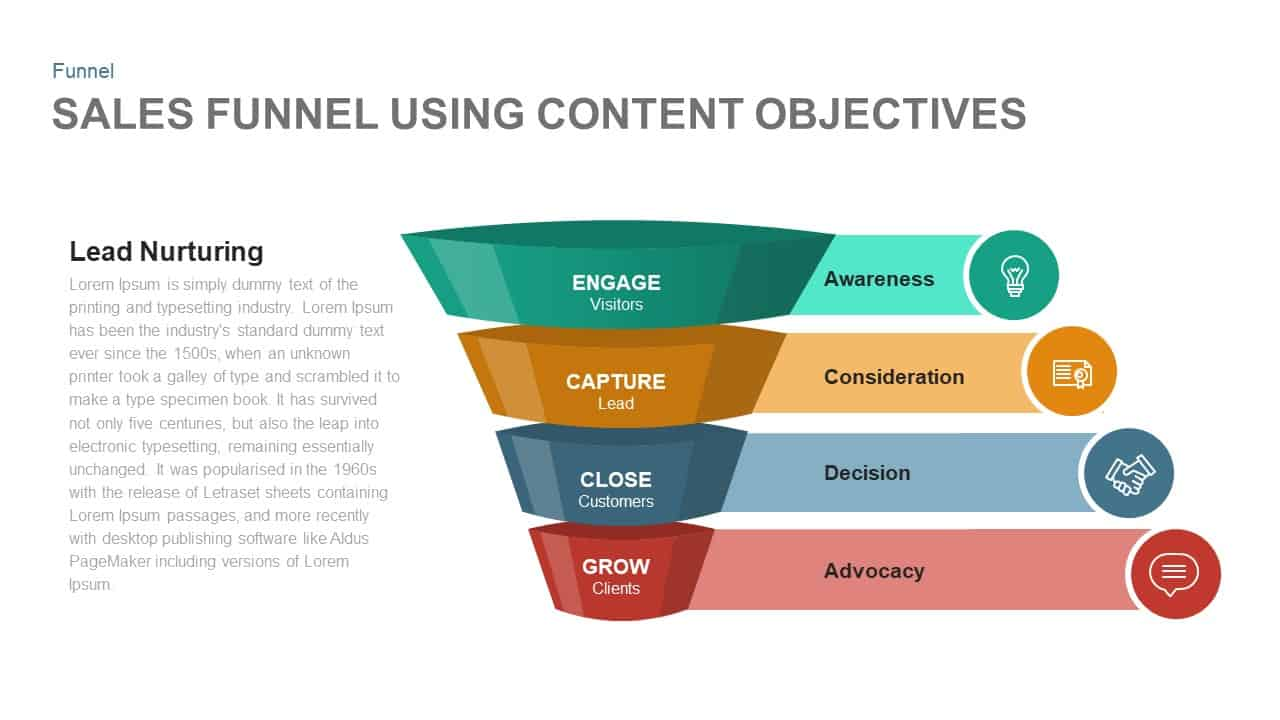 Sales Funnel Using Content Objectives Powerpoint and Keynote template