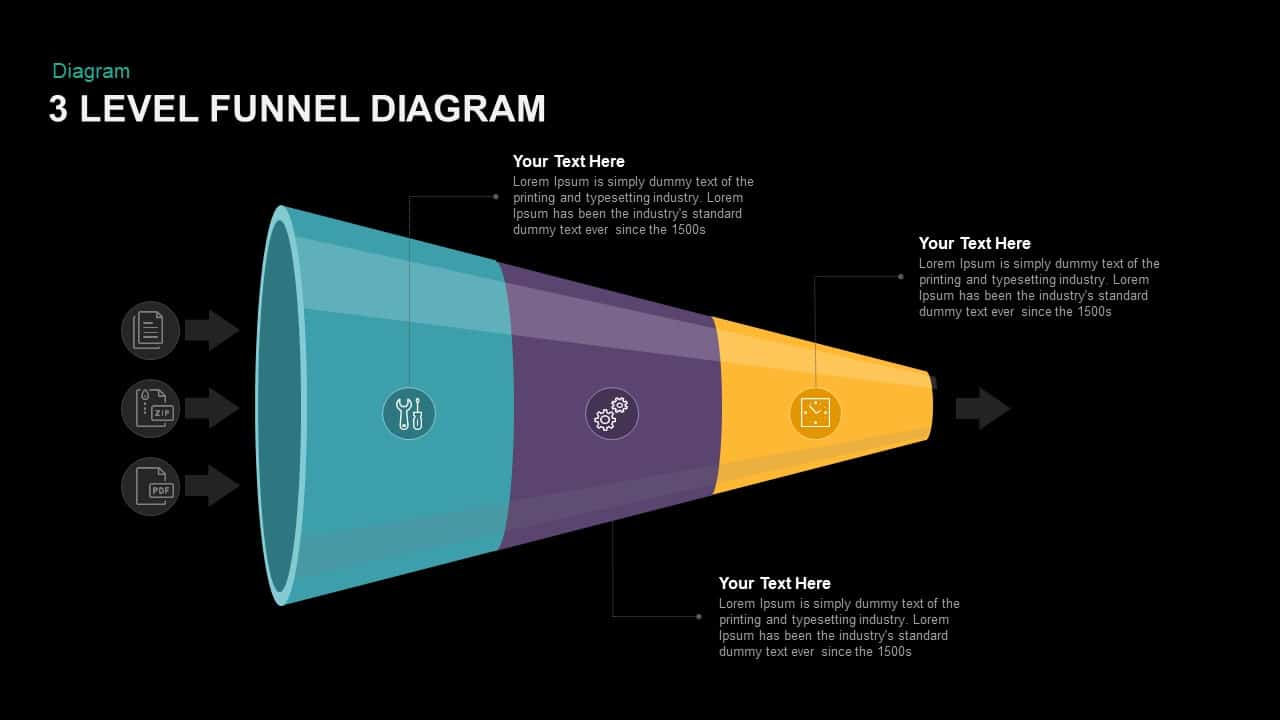 3 Level Funnel Diagram PowerPoint template