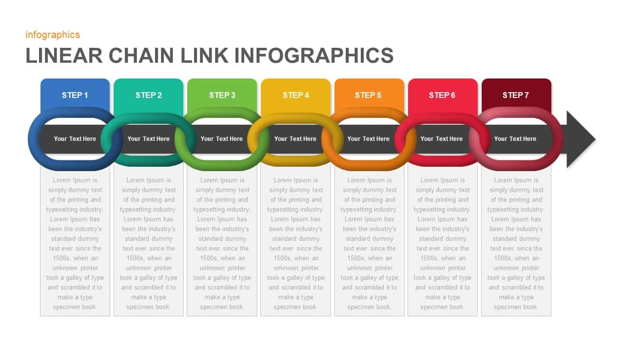 Linear infographics chain link PowerPoint template and keynote