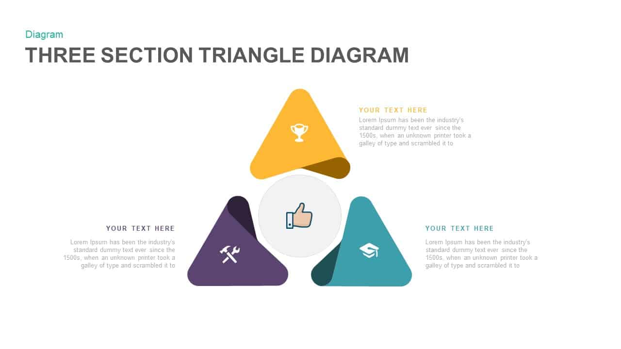 3 Section Triangle Diagram Powerpoint Template And Keynote