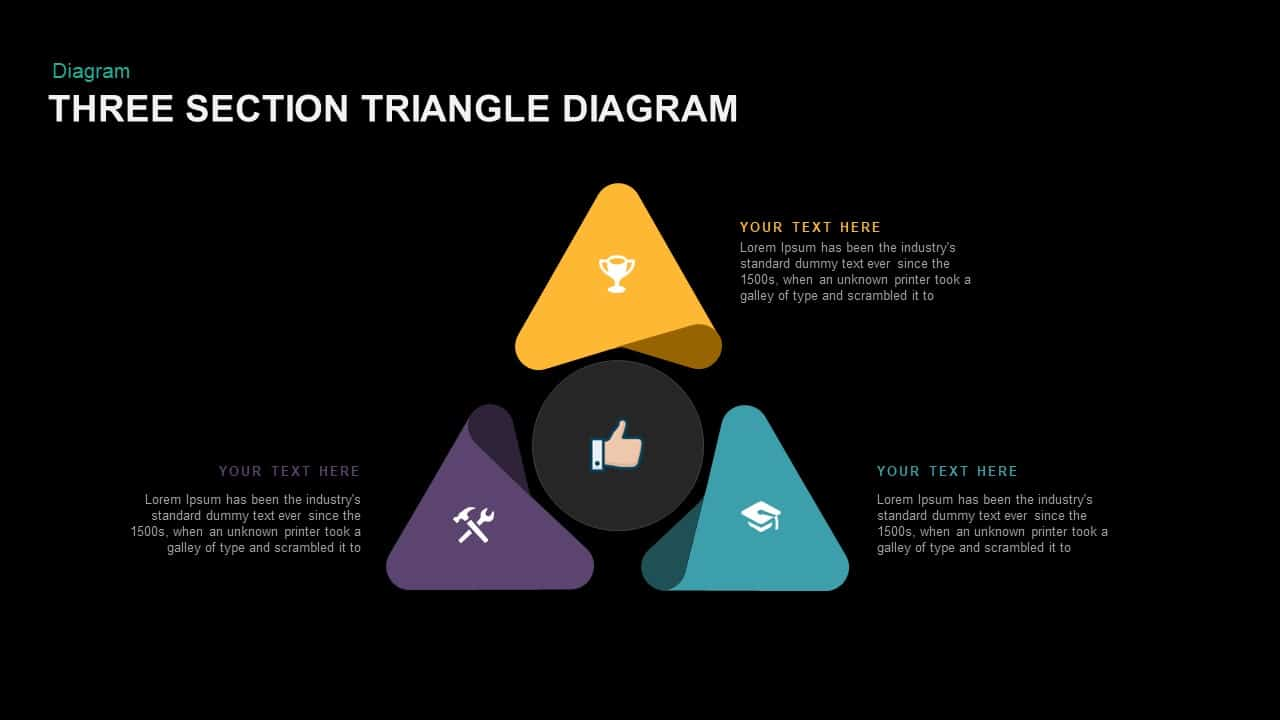 Three Section Triangle Diagram PowerPoint template