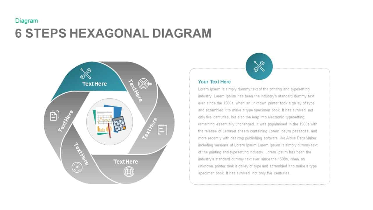 6 Steps Hexagonal Diagram PowerPoint template