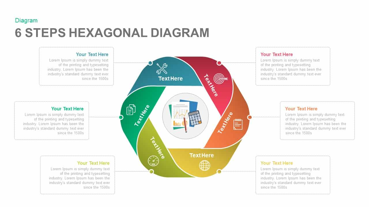 6 steps diagram hexagon PowerPoint template and keynote