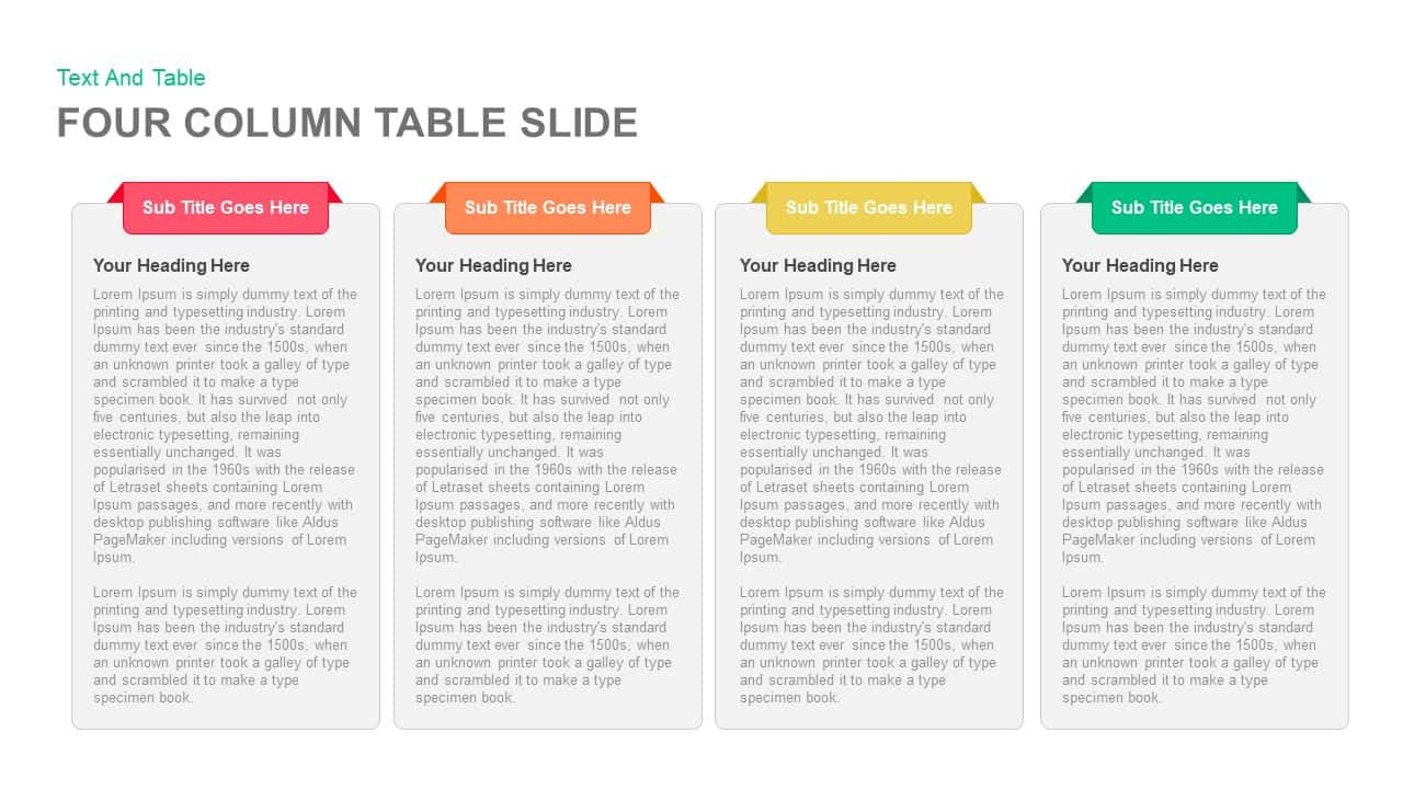 Four Column Table Slide PowerPoint and Keynote template