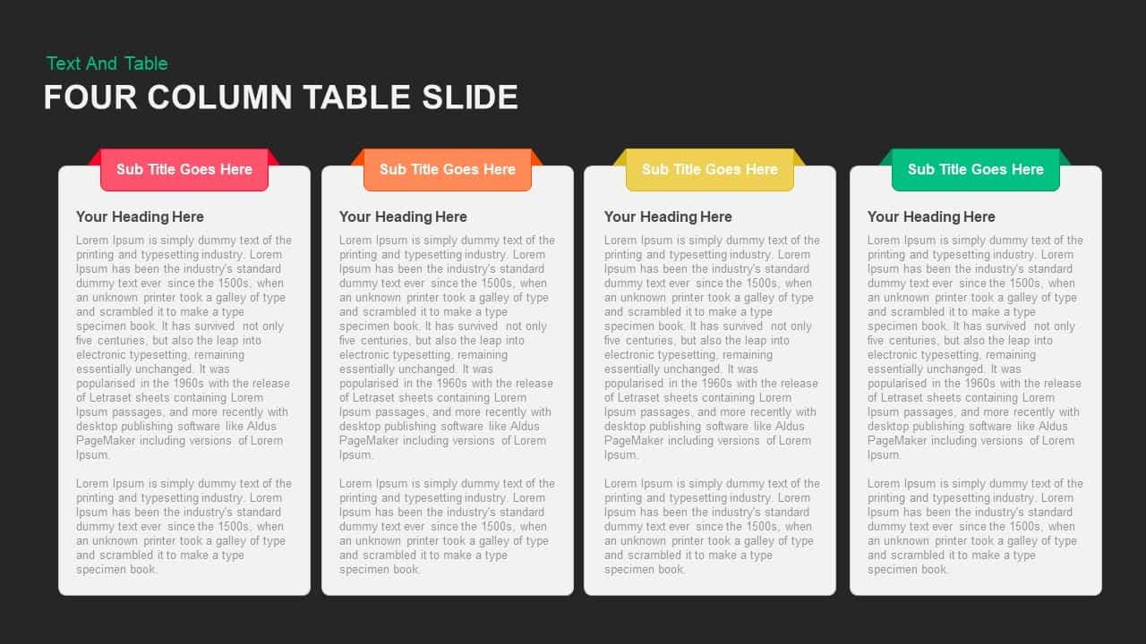 Four Column Table Slide PowerPoint template