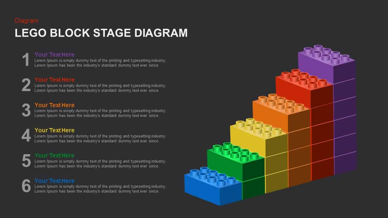 Lego Block Stage Diagram PowerPoint Template and Keynote