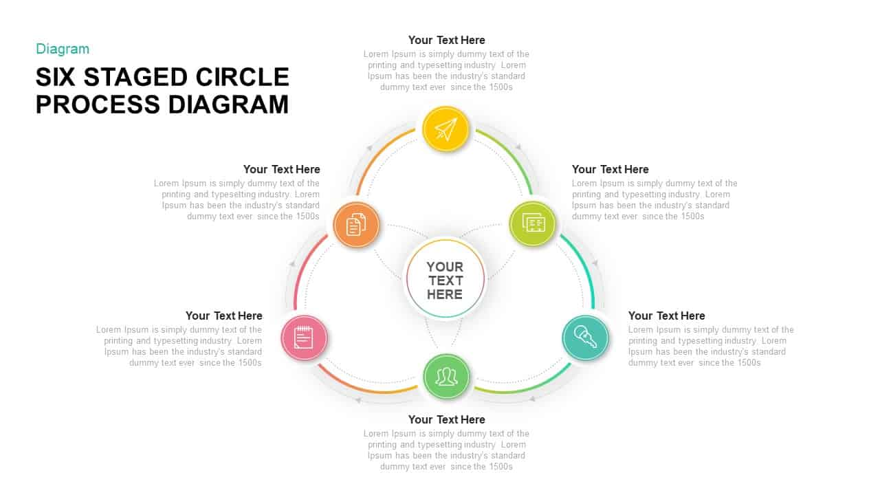 Six Staged Circular Process Diagram PowerPoint Template & Keynote Template