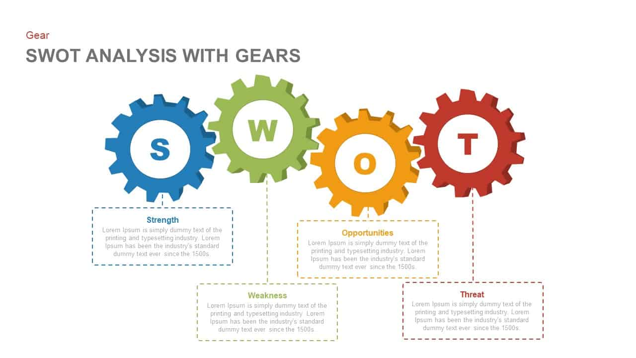 swot analysis with gears PowerPoint template and keynote