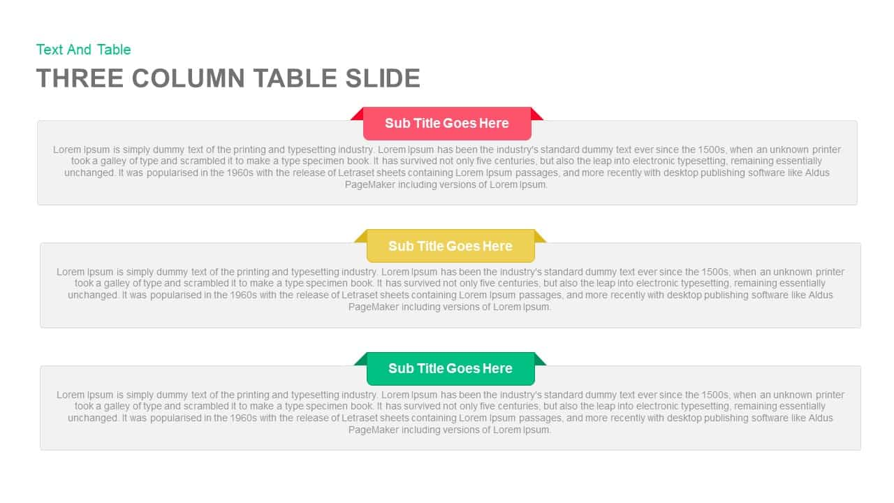 Three Column Table Slide Keynote template
