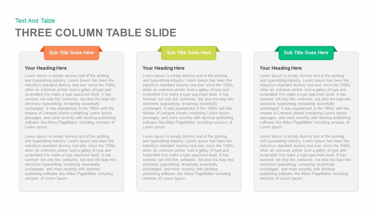 3 and 4 Columns Table Slide PowerPoint Template