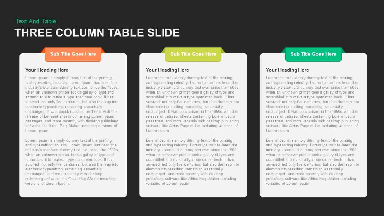 Three Column Table Slide PowerPoint template