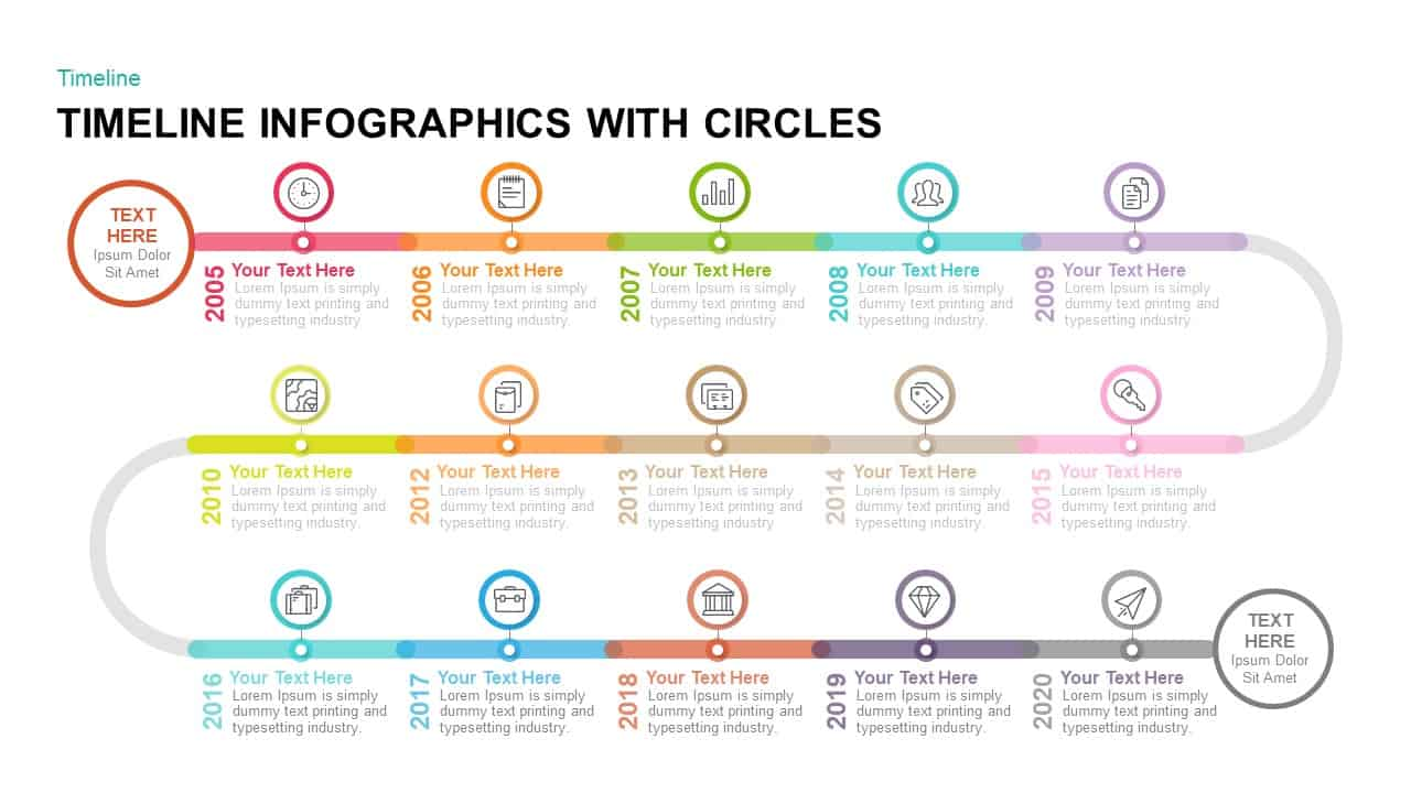timeline infographics with circles powerpoint template  u0026 keynote template