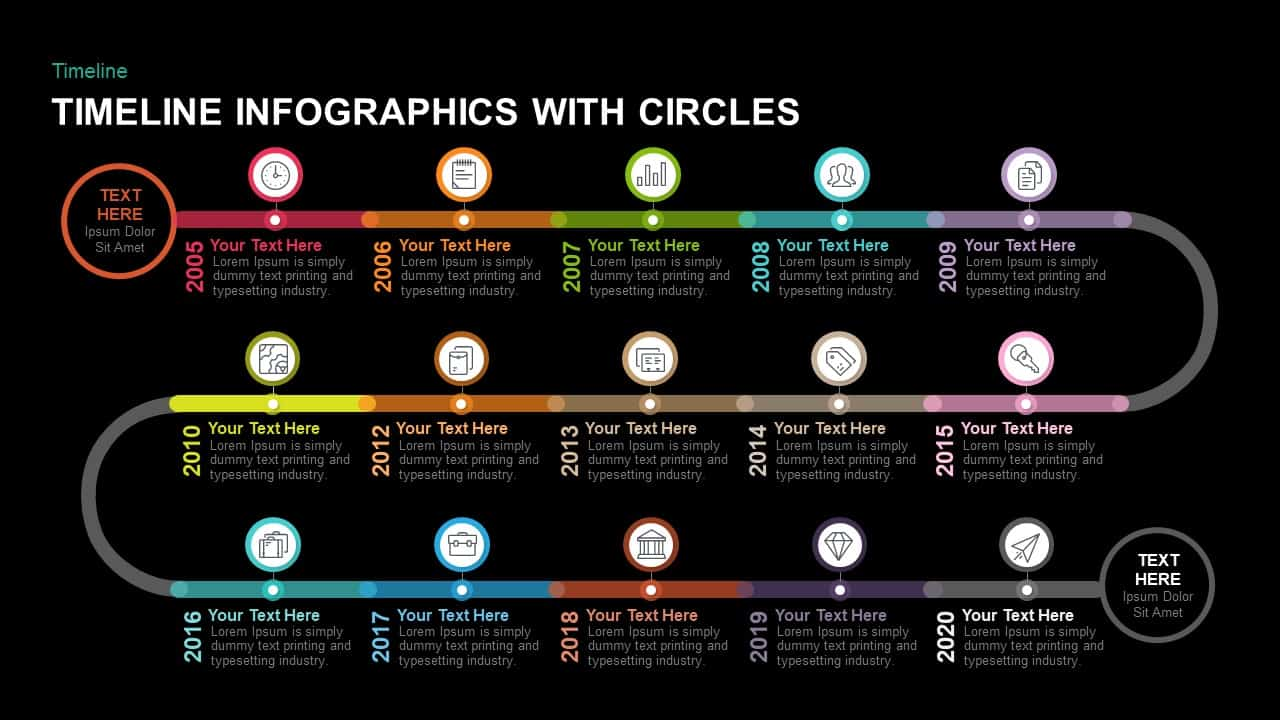 Timeline Infographics with Circles PowerPoint and Keynote template