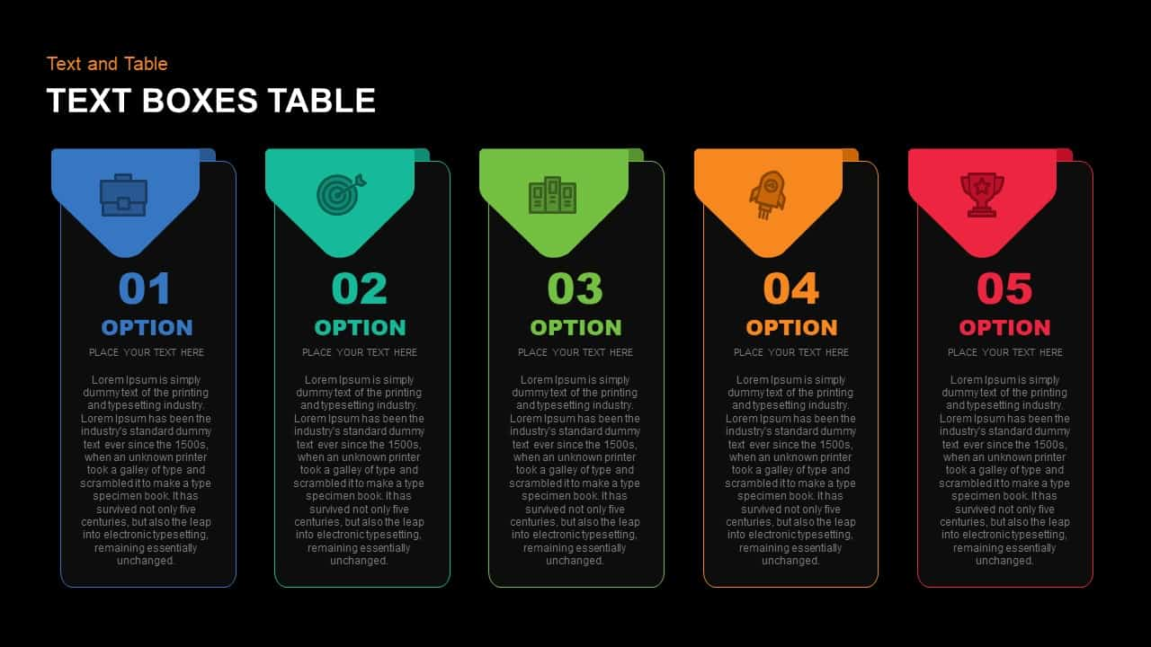 Text Boxes Table PowerPoint Template