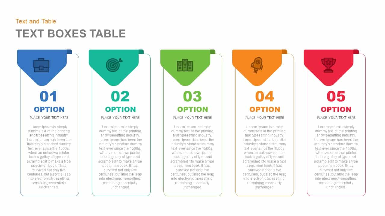 Text Box Table PowerPoint Template and Keynote Slide
