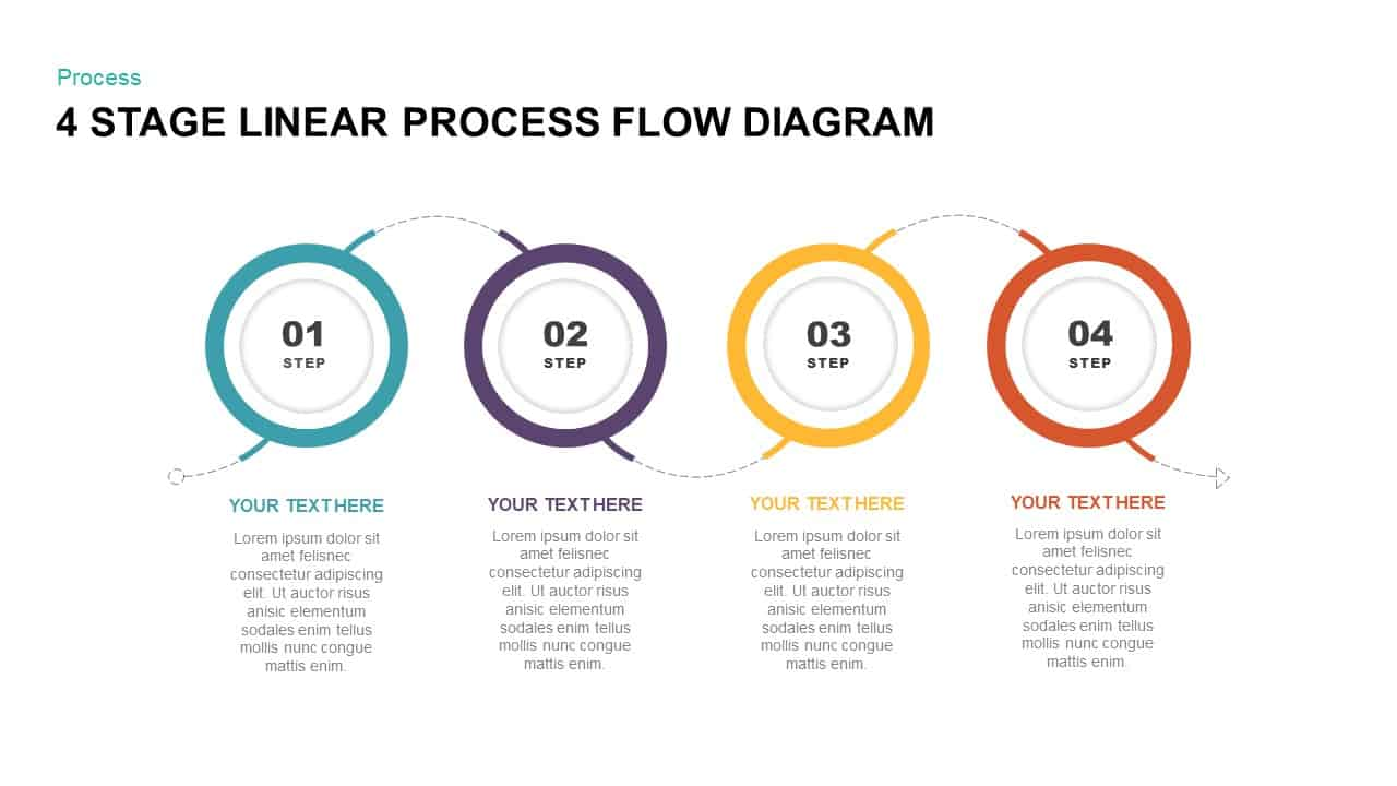 4 Stage Linear Process Flow Diagram PowerPoint Template