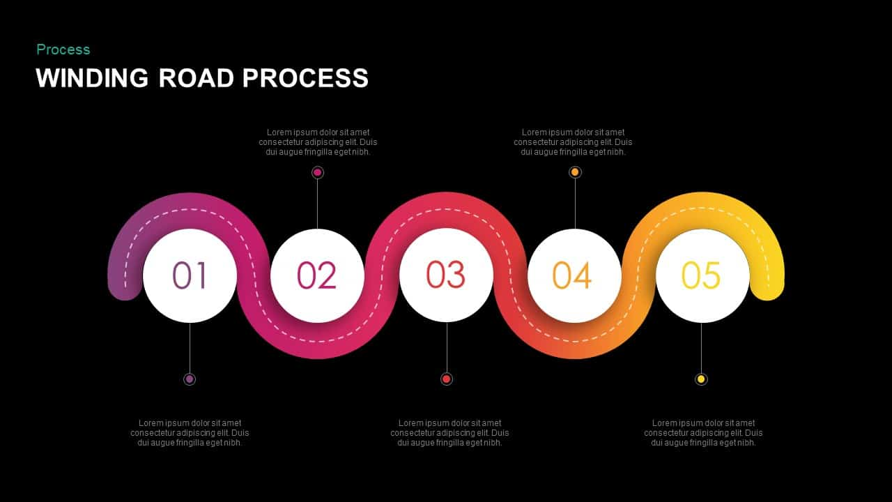 Winding Road Process PowerPoint And Keynote Template