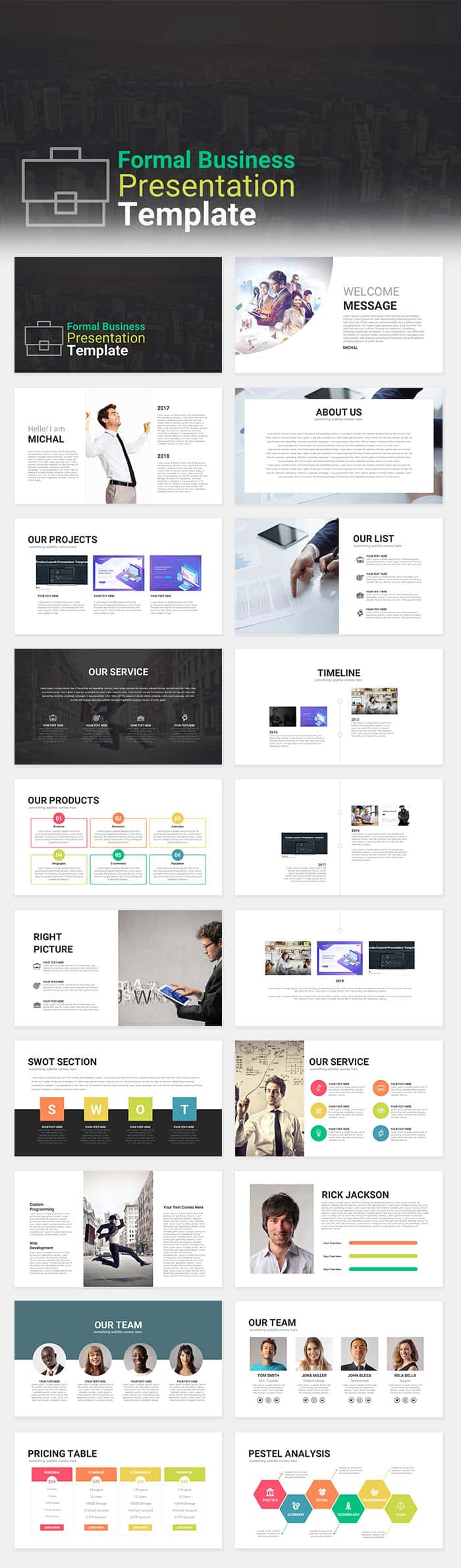 Formal Business Presentation Template For Powerpoint Keynote