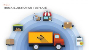 Truck Illustration-Trucking industry-Truck Transport Metaphor Template for PowerPoint and Keynote