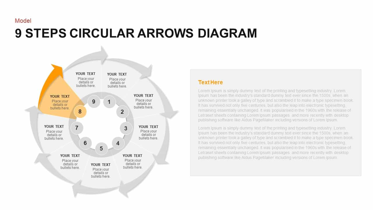 9 Steps Circular Arrows Diagram