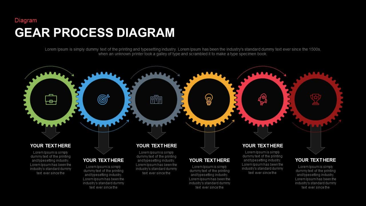 Gear Process Diagram PowerPoint Template