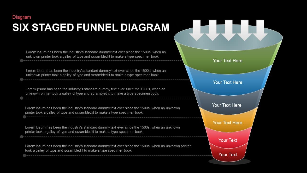 Six Staged Funnel Diagram PowerPoint Template