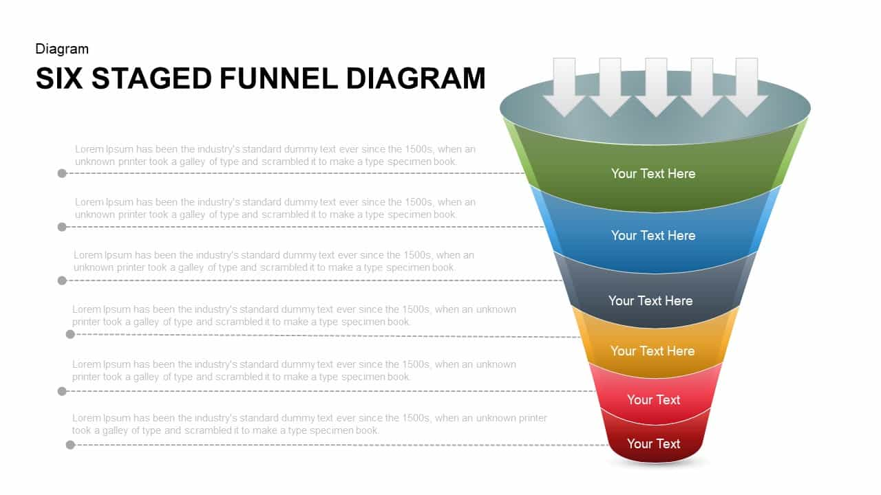 6 Staged Funnel Diagram PowerPoint Template