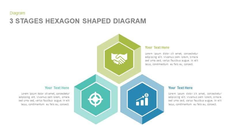 3 stages hexagon shape diagram powerpoint template and keynote