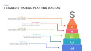 5 Staged Strategic Planning Diagram PowerPoint Template and Keynote Slide