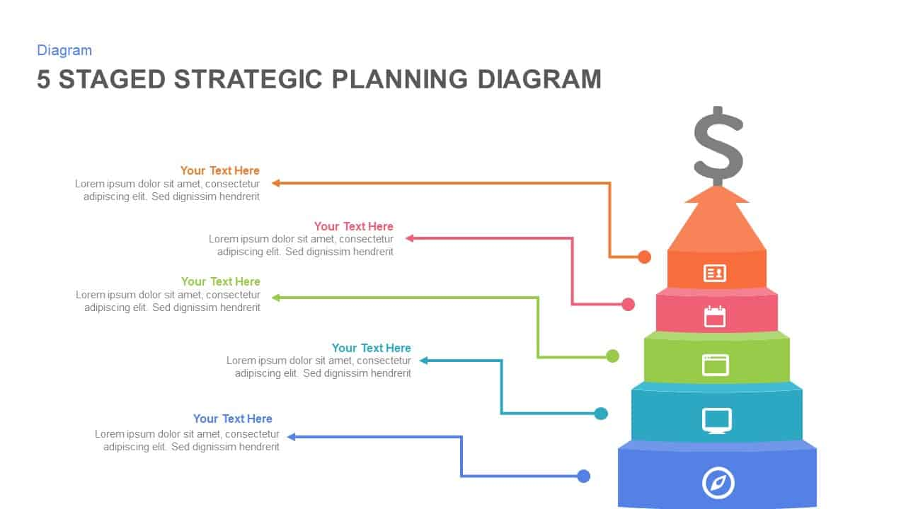 5 Staged Strategic Planning Diagram Powerpoint Template