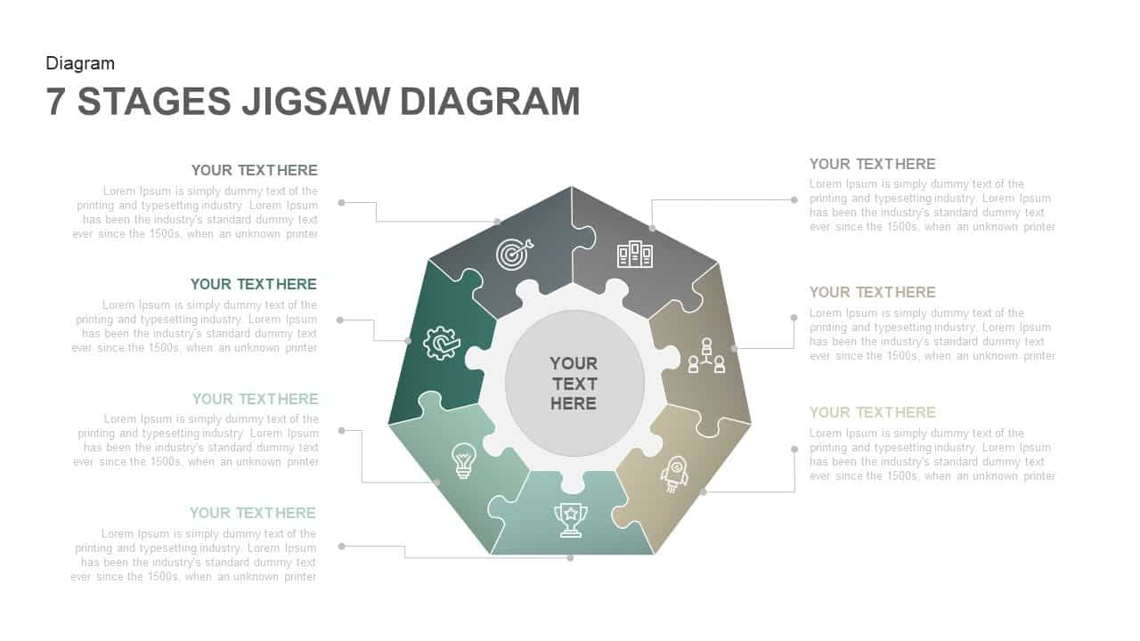 7 Stages Jigsaw Diagram Template for PowerPoint and Keynote