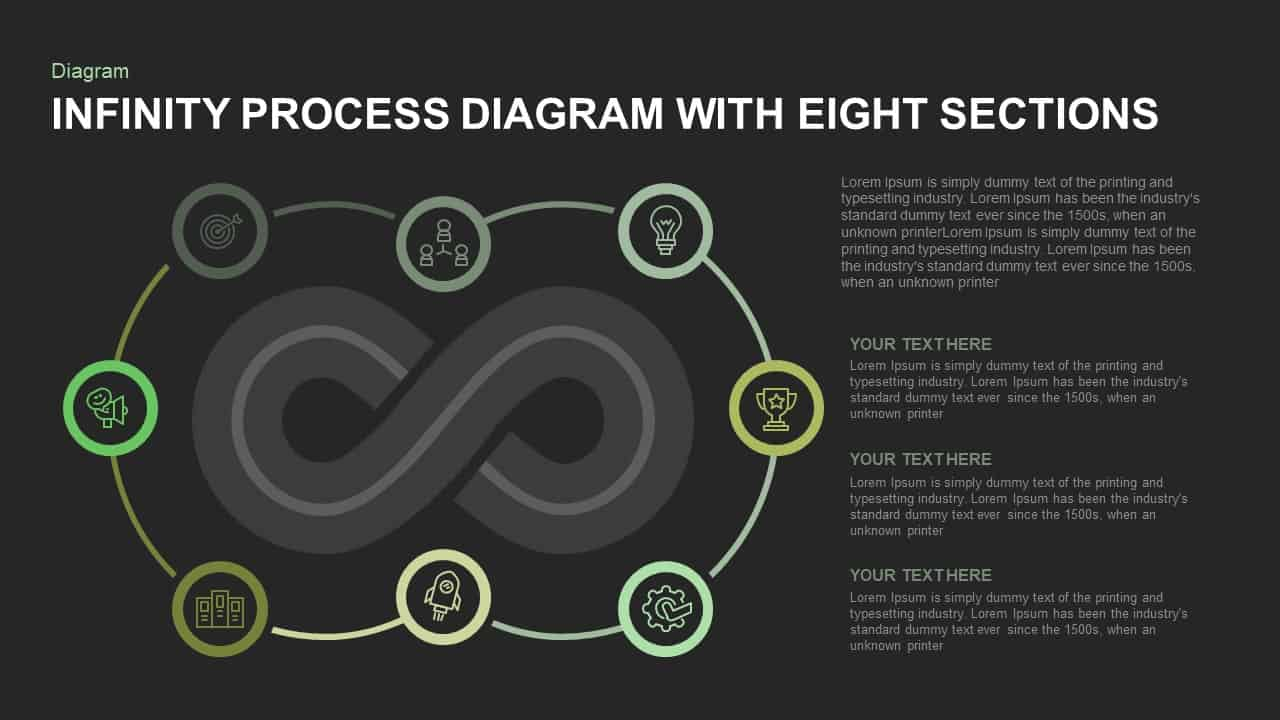 Infinity Process Diagram PowerPoint Template with Eight Sections