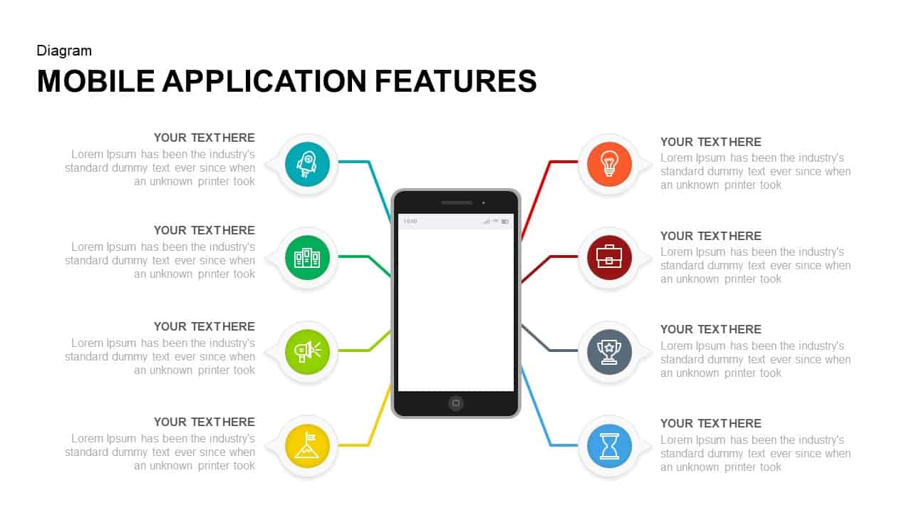 Mobile Application Features PowerPoint and Keynote Presentation Slides