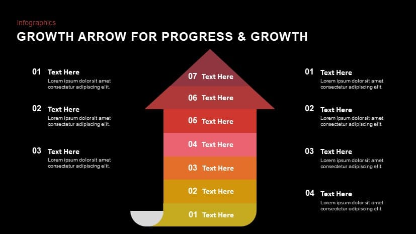 Arrow for progress & growth powerpoint template and keynote