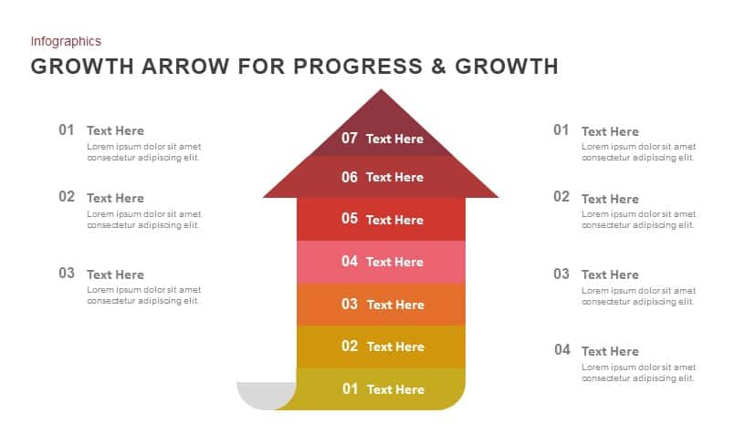 Progress and growth arrow powerpoint template