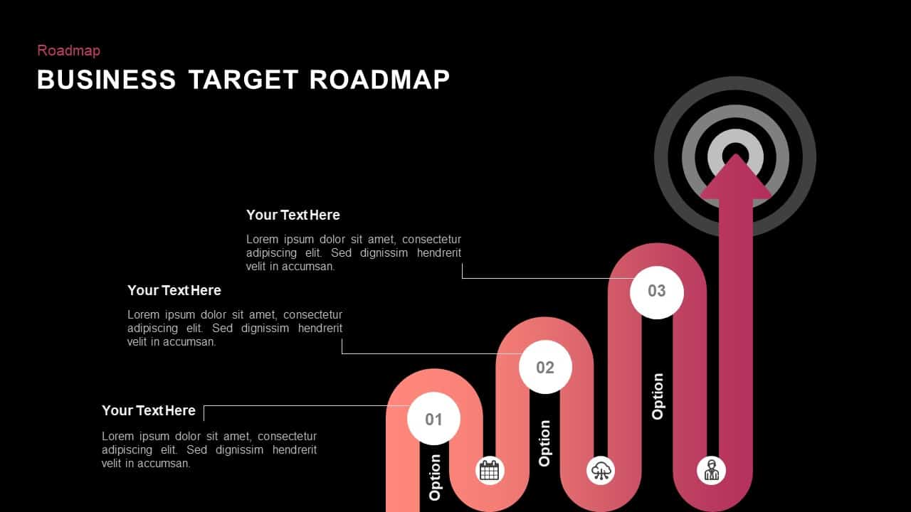Business target roadmap powerpoint template and keynote slide