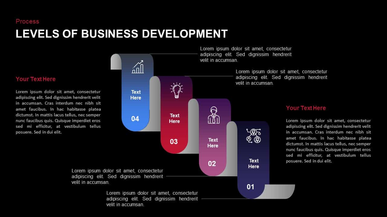 Stages of business development powerpoint template and keynote slide