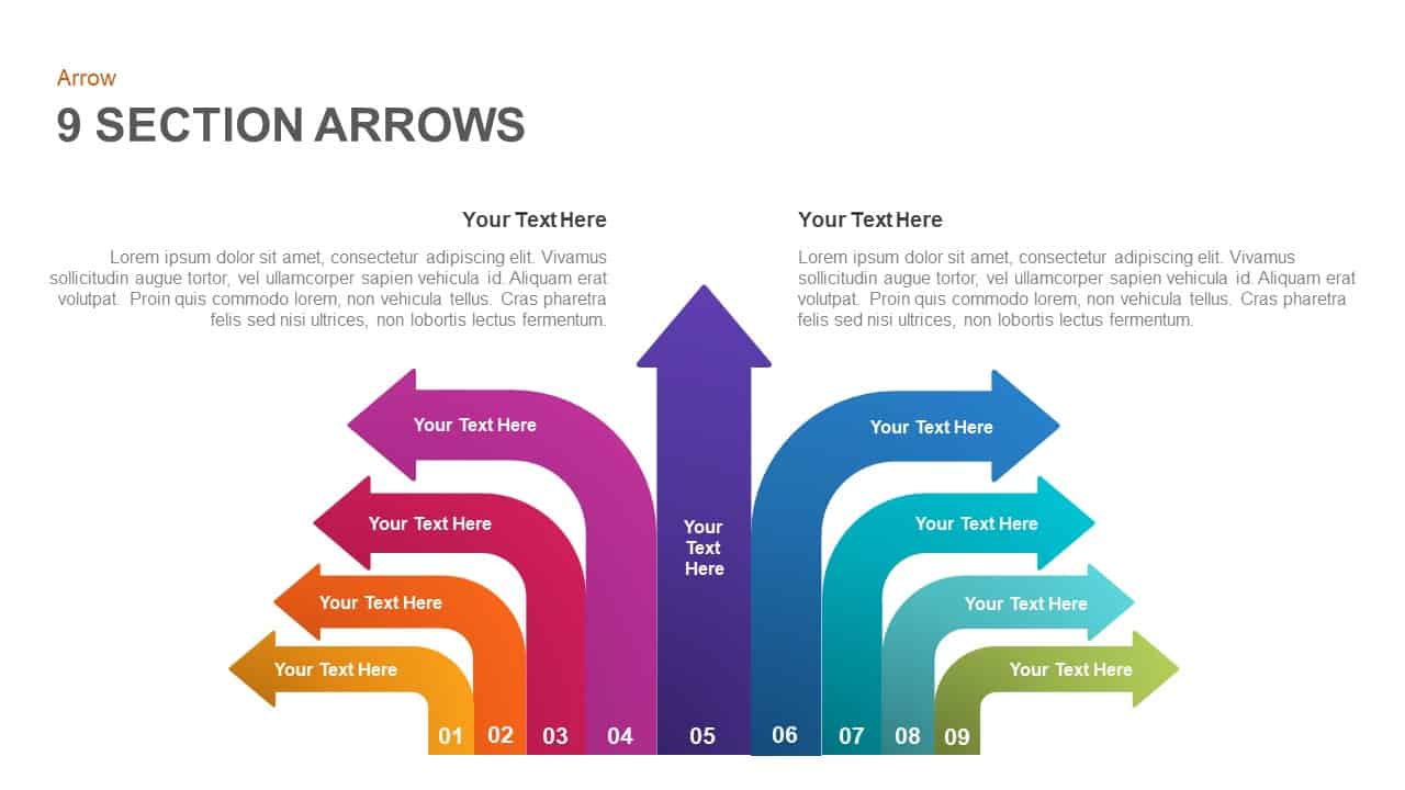 9 section arrows powerpoint template and keynote
