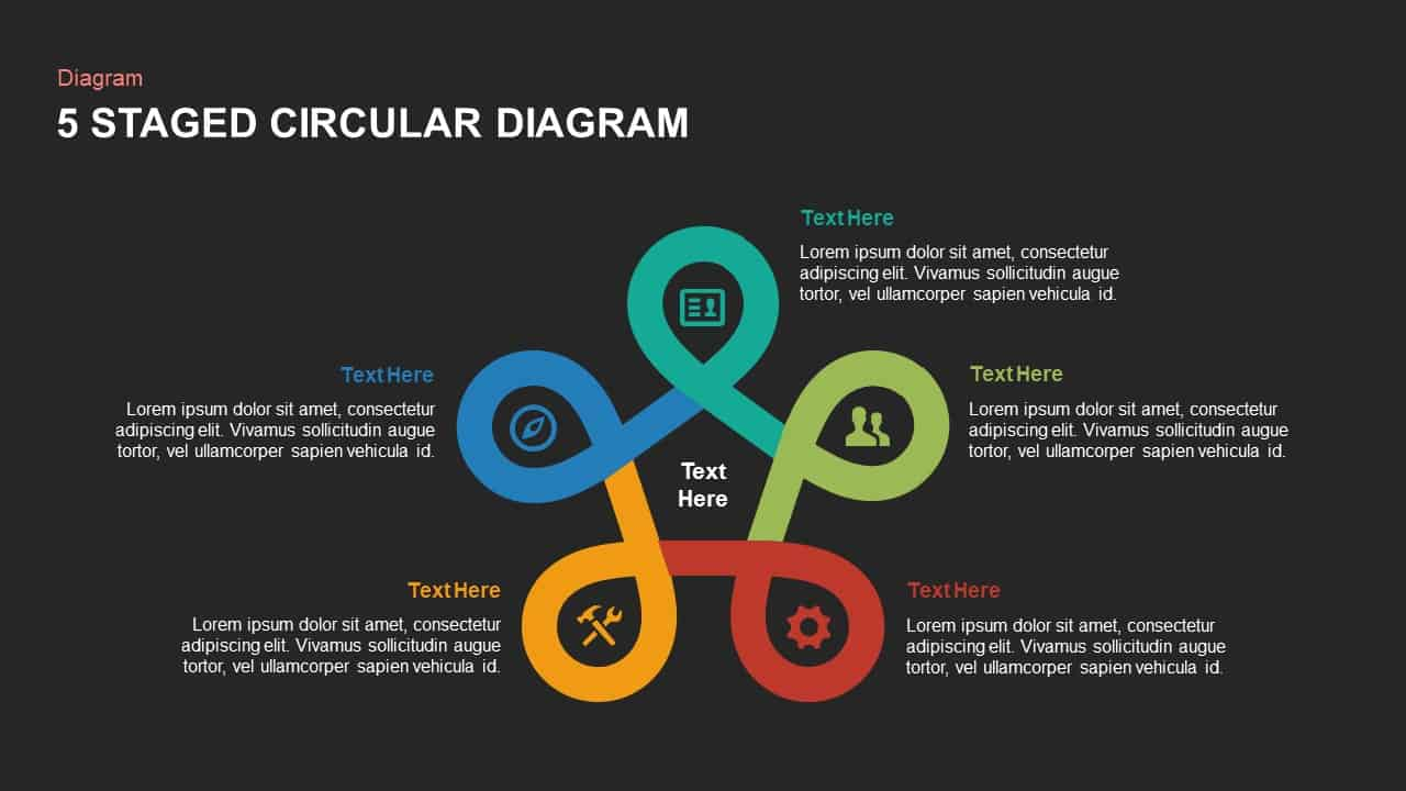 Five stage circular diagram powerpoint template and keynote