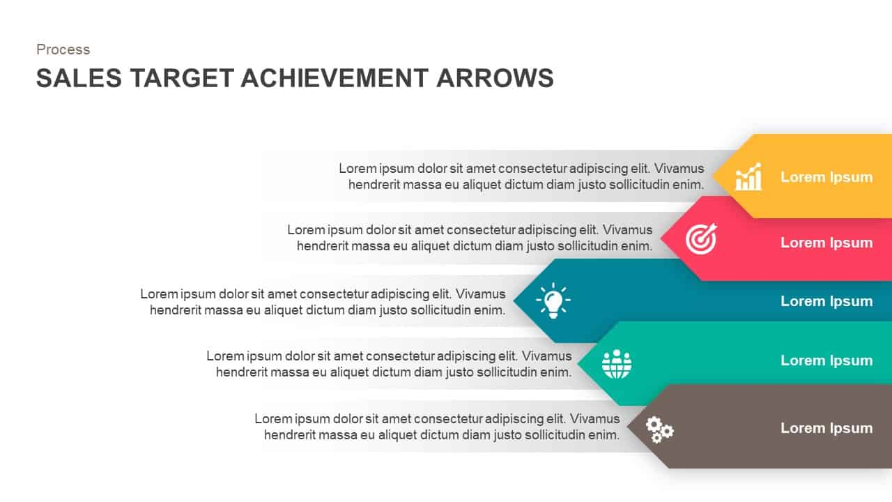 sales target achievement arrows powerpoint template and