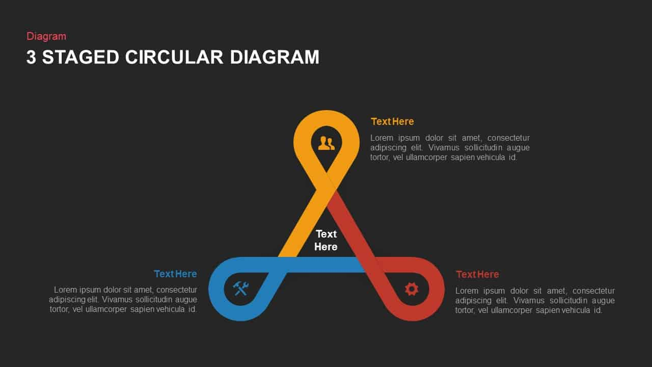 three stage circular diagram powerpoint template and keynote